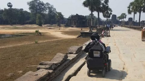 Ean visiting the Ankor Wat complex in Cambodia