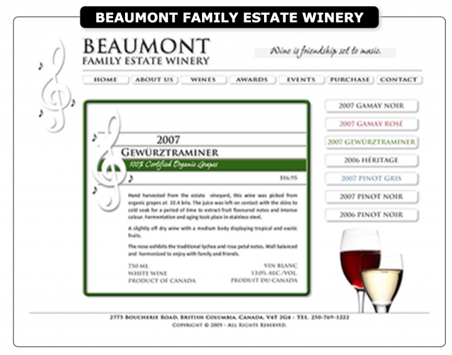 Website of the Beaumont Family Estate Winery
